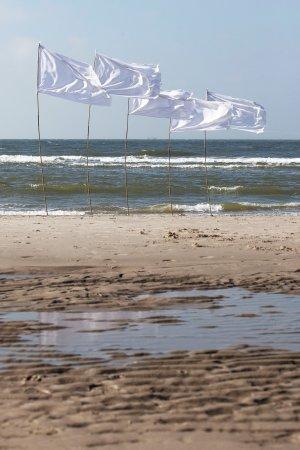 Witte vlaggen langs de vloedlijn van het Noordzee strand.