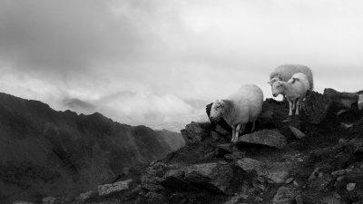 Scahpen op de top van Mount Snowdon in Snowdonia in Wales.